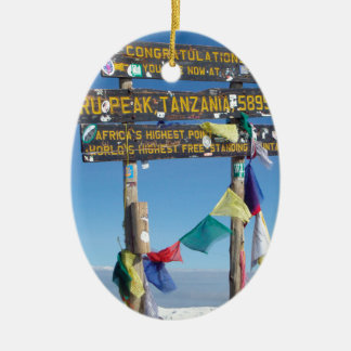 Signpost  on the  Summit of Kilimanjaro kenya Ceramic Oval Decoration