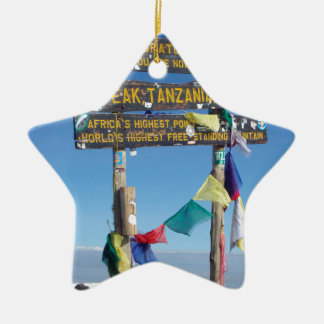 Signpost  on the  Summit of Kilimanjaro kenya Ceramic Star Decoration