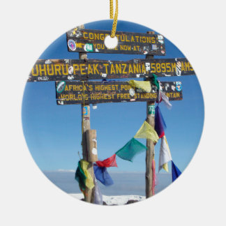 Signpost  on the  Summit of Kilimanjaro kenya Round Ceramic Decoration
