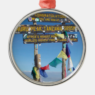 Signpost  on the  Summit of Kilimanjaro kenya Silver-Colored Round Decoration