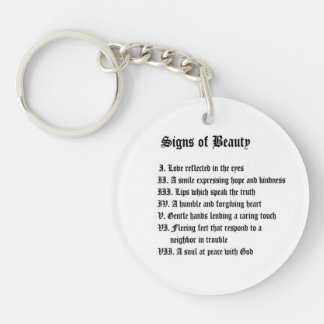 Signs of Beauty & A Healing Place Double-Sided Round Acrylic Keychain