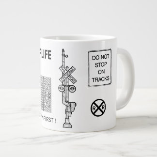 Signs Of Life at Railroad Crossings Extra Large Mugs