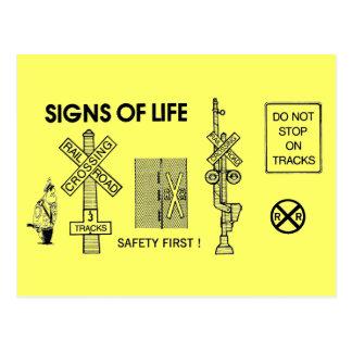 Signs Of Life at Railroad Crossings Postcard