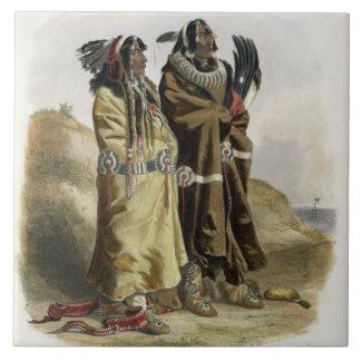 Sih-Chida and Mahchsi-Karehde, Mandan Indians, pla Large Square Tile