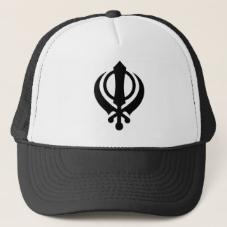 Sikh Khanda Black Trucker Hat