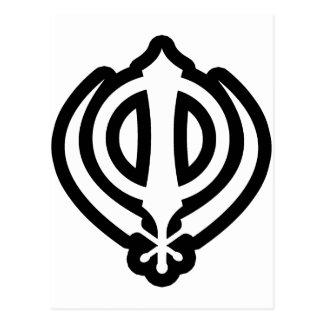 Sikh Khanda Khalsa Sikhism Punjabi Design Postcard