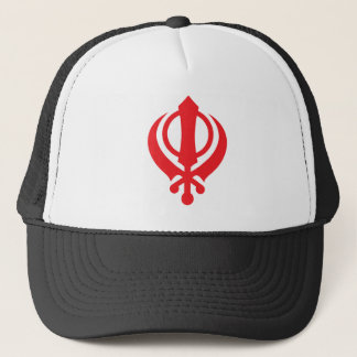 Sikh Khanda Red Trucker Hat
