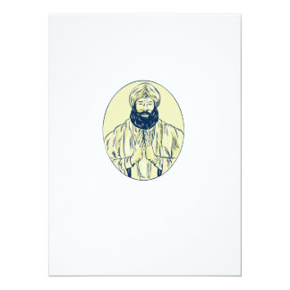 Sikh Priest Praying Front Oval Etching 14 Cm X 19 Cm Invitation Card