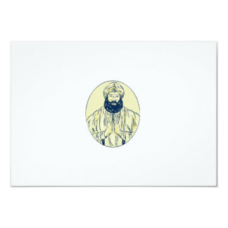 Sikh Priest Praying Front Oval Etching 9 Cm X 13 Cm Invitation Card
