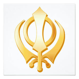 Sikh Symbol 13 Cm X 13 Cm Square Invitation Card