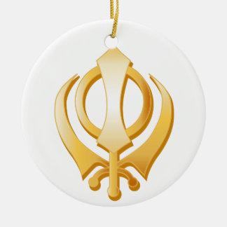 Sikh Symbol Round Ceramic Decoration