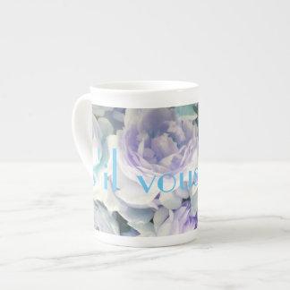 s'il vous plaît mug with purple roses
