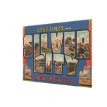Silber City, New Mexico - Large Letter Scenes Stretched Canvas Prints