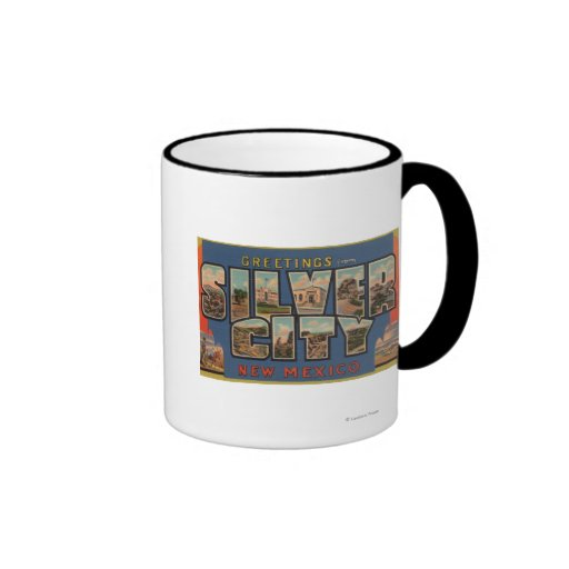 Silber City, New Mexico - Large Letter Scenes Ringer Mug