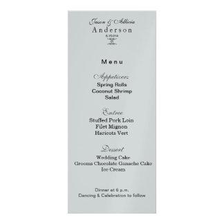 Silberne Eis-Menü-Karte für Hochzeiten u Gala Einladungskarte