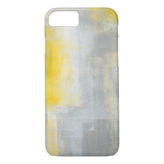 'Silence' Grey and Yellow Abstract Art iPhone 7 Case
