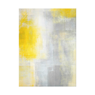 'Silence' Grey and Yellow Abstract Art Print Gallery Wrap Canvas
