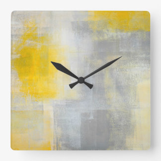 'Silence' Grey and Yellow Abstract Art Square Wall Clock