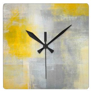 'Silence' Grey and Yellow Abstract Art Wall Clock