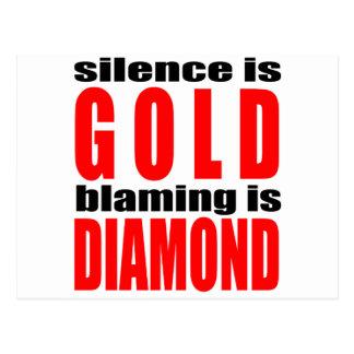 SILENCEISGOLD blamingisdiamond silence gold couple Postcard