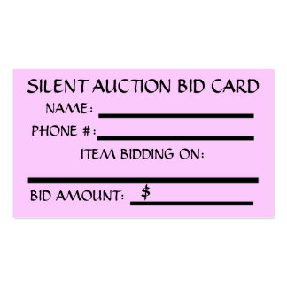 Silent Auction Bid Card Business Cards