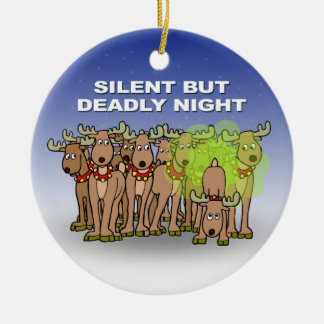 Silent But Deadly Night Round Ceramic Decoration