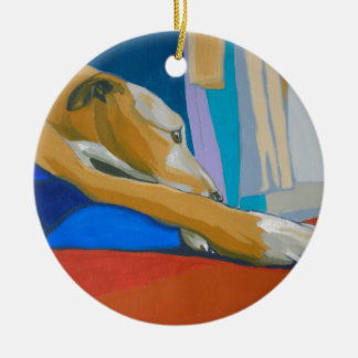 'Silent Longing' - Yellow lurcher Christmas Ornament