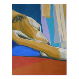 'Silent Longing' - Yellow lurcher Postcard