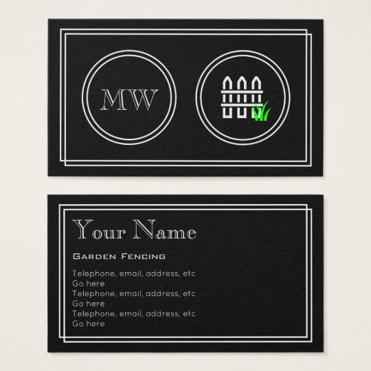 """Silent Movie"" Garden Fencing Business Cards"