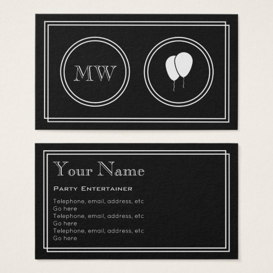 """Silent Movie"" Party Entertainer Business Cards"