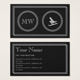 """Silent Movie"" Ski Instructor Business Cards"