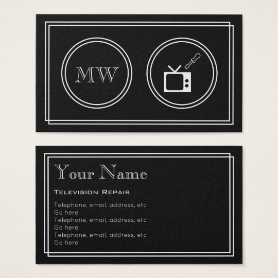 """Silent Movie"" Television Repair Business Cards"