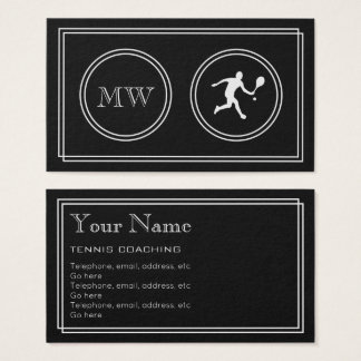 """""""Silent Movie"""" Tennis Coaching Business Cards"""