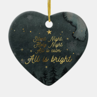 SILENT NIGHT, ALL IS BRIGHT Heart Ornament