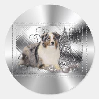 Silent Night - Australian Shepherd Classic Round Sticker
