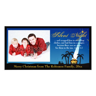 Silent Night Bible Verse Christian Christmas Personalised Photo Card