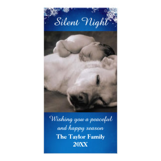 Silent Night Blue Snow Photo Card