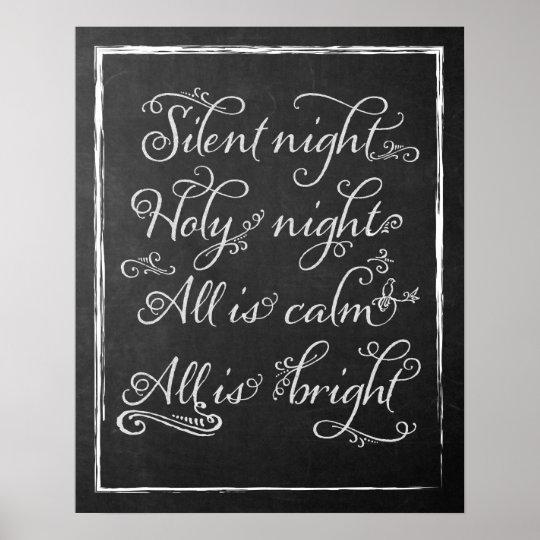 Silent Night Christmas Chalkboard Art Poster