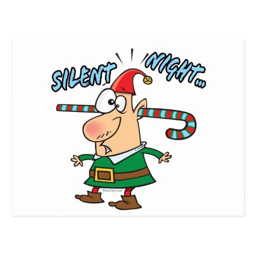 silent night elf ear candy cane stuffed humor postcard