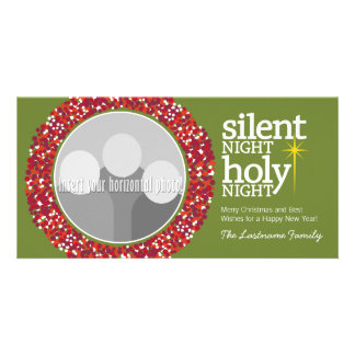 Silent Night, Holy Night Christian Christmas Photo Card Template