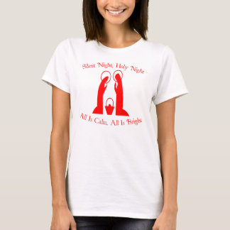 Silent Night, Holy Night Ladies Nativity T-Shirt