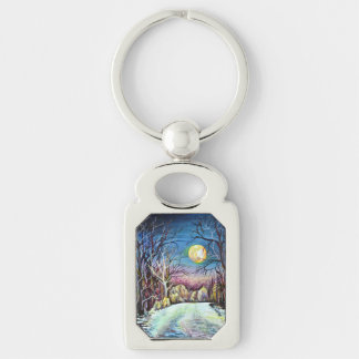 Silent Night in Sweden - realism painting Key Ring