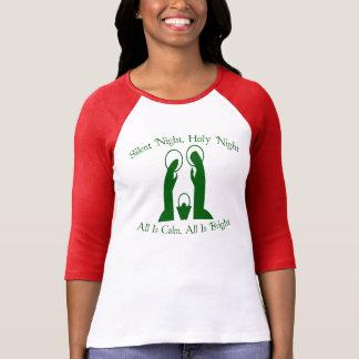 Silent Night Nativity Ladies Raglan T-Shirt