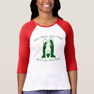 Silent Night Nativity Ladies Raglan T-Shirt