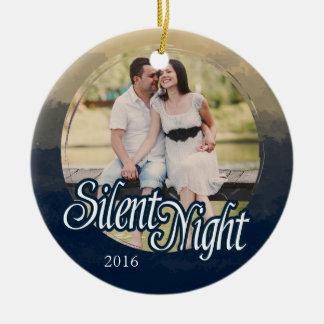 Silent Night, Photo, Holiday Round Ceramic Decoration