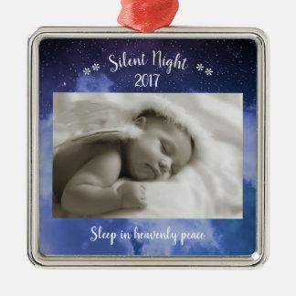Silent Night Photo - Square Ornament
