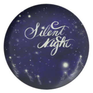 Silent Night - romantic Holiday snow scene Plate