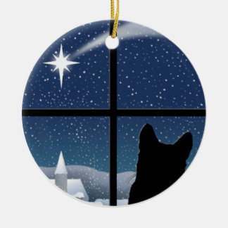 Silent Night Round Christmas Ornament