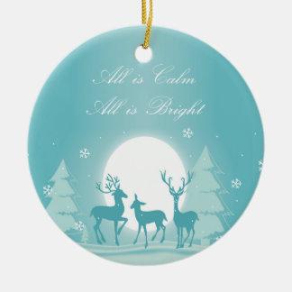 Silent Night Snow & Deer Christmas Tree Ornament