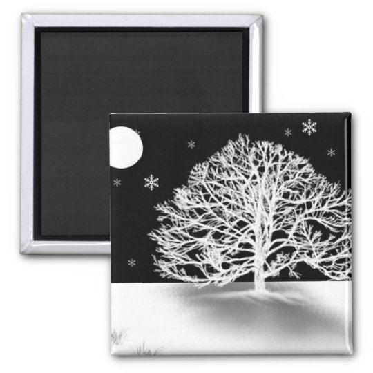 Silent Night Square Magnet